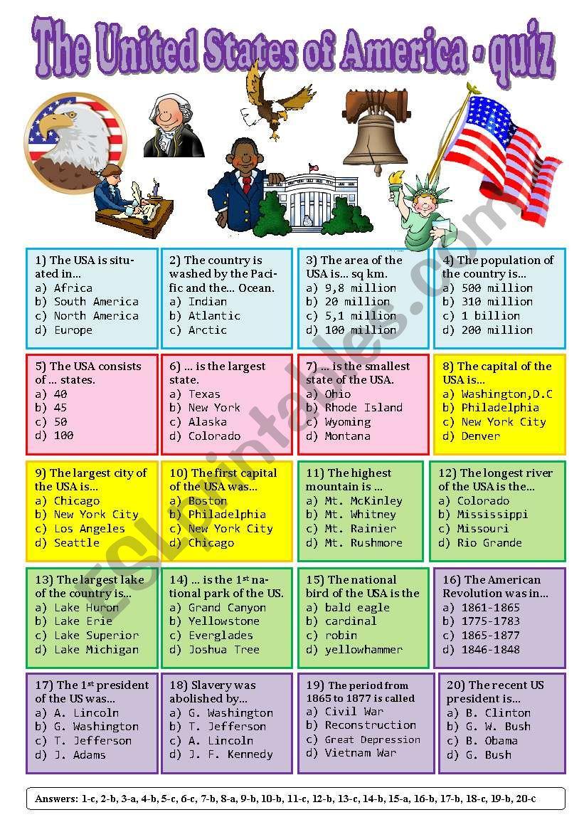 The USA - quiz worksheet