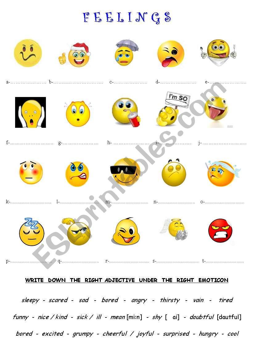 FEELINGS (emoticons) worksheet