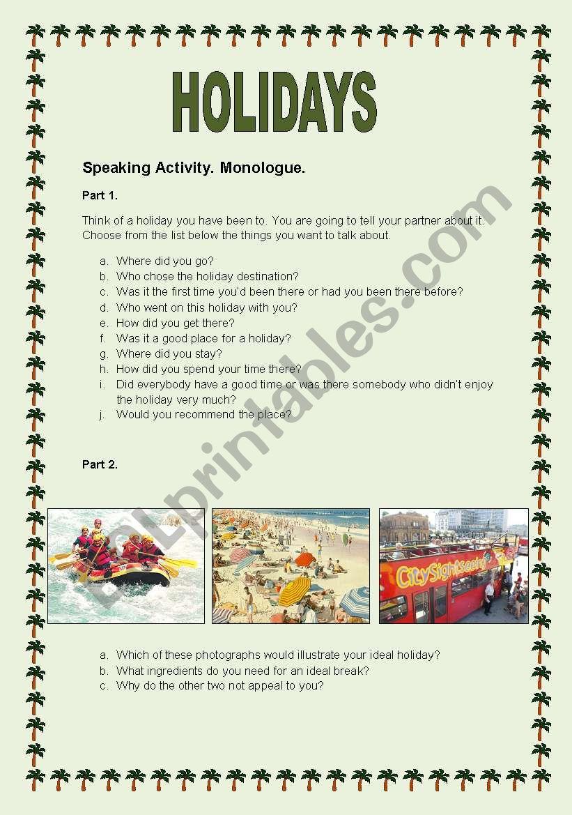 Holidays speaking activity worksheet