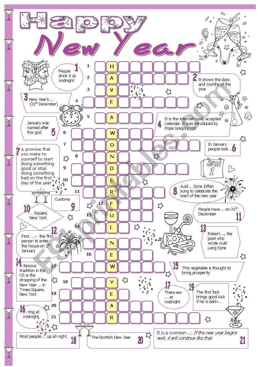 New Year crossword worksheet