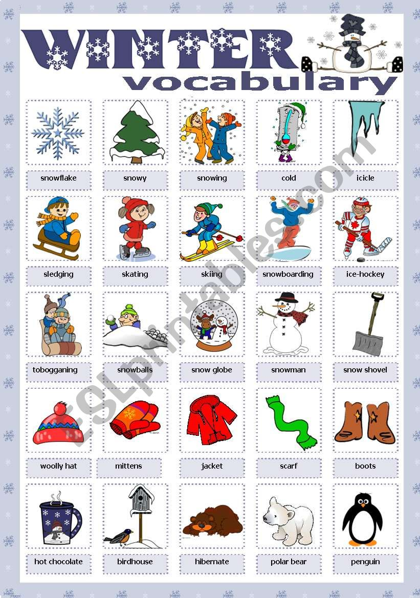 Winter vocabulary worksheet