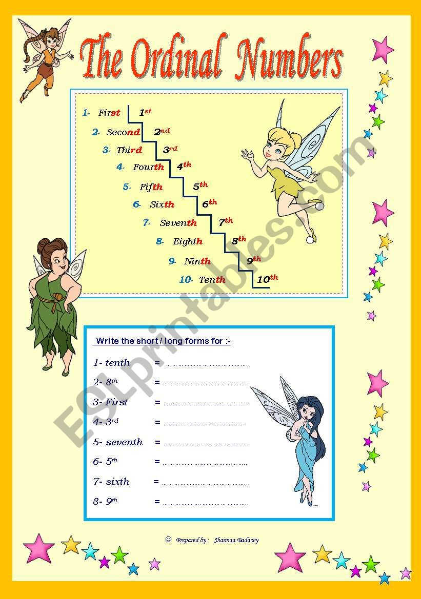 The Ordinal Numbers fro ( 1st to 10th )