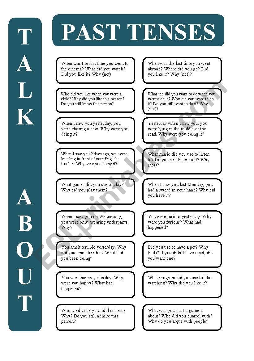 Past tenses - 18 conversation cards (editable)