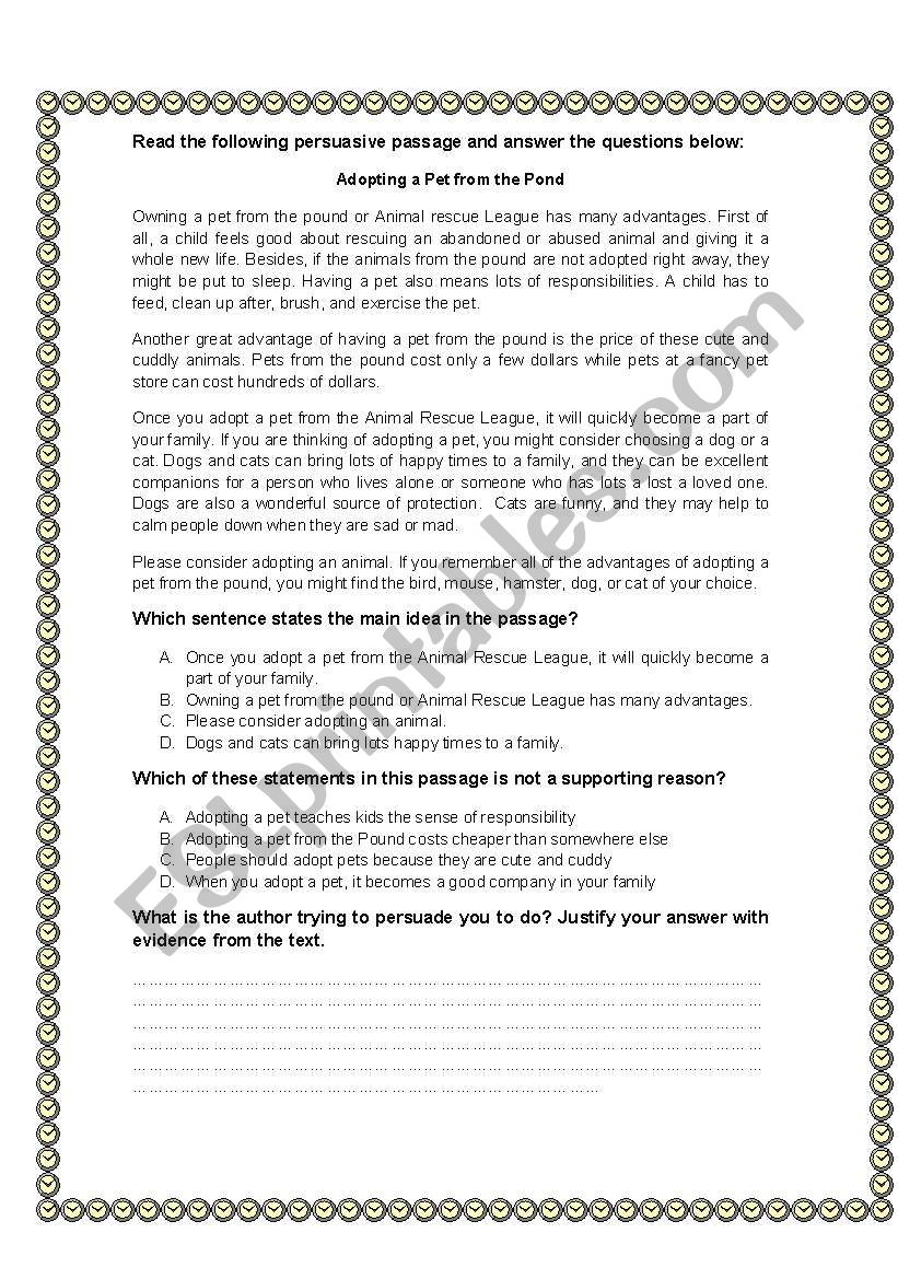 Adopting a pet from the Pond worksheet