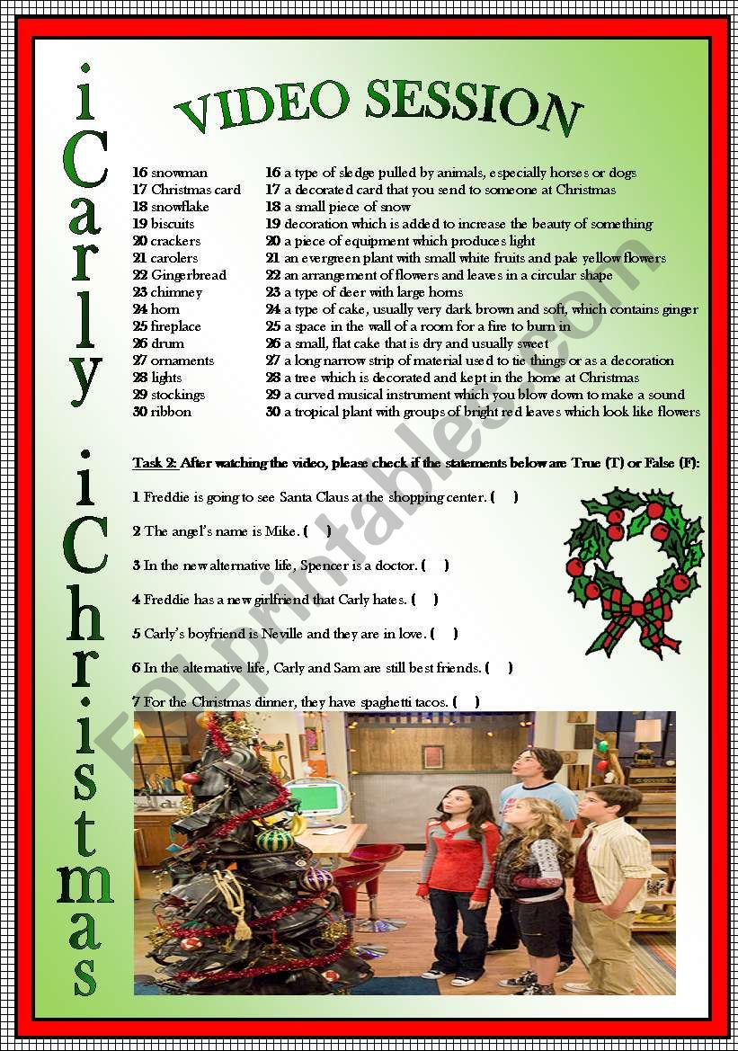 Video Session iCarly Christmas Episode - ESL worksheet by corina2211