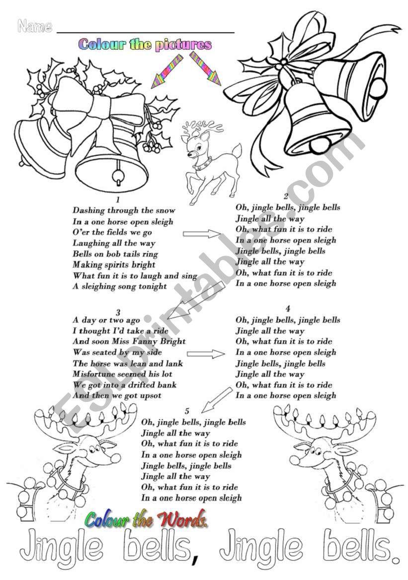 Jingle bells song and colouring sheet