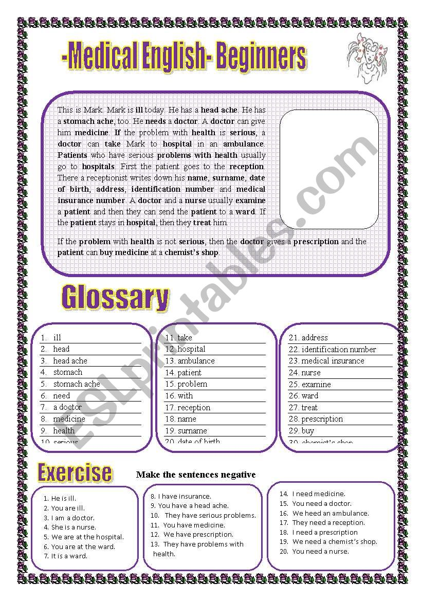 Medical English for Beginners Glossary + a text+ exercises