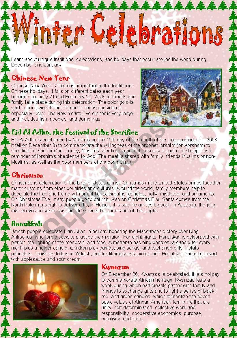 Winter Celebrations - reading practice