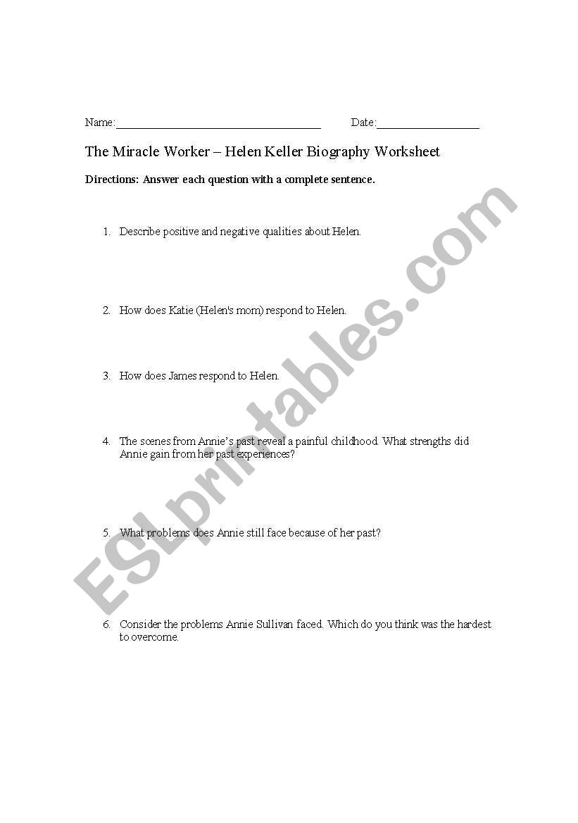 English Worksheets The Miracle Worker