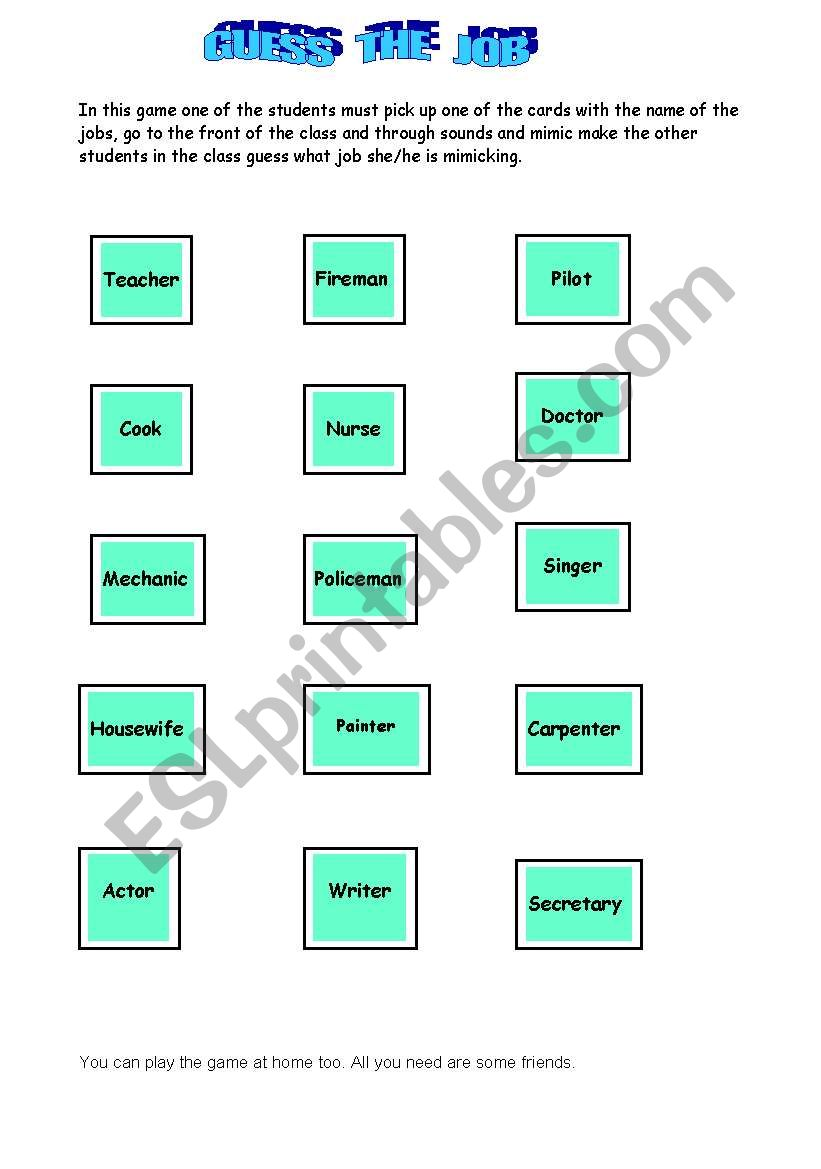 Jobs Game Worksheet - Rcnschool