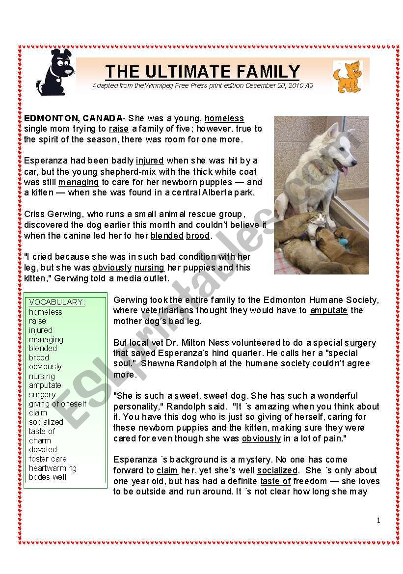 A Christmas Tale: Esperanza, the Ultimate Mother Dog (4 pgs  plus