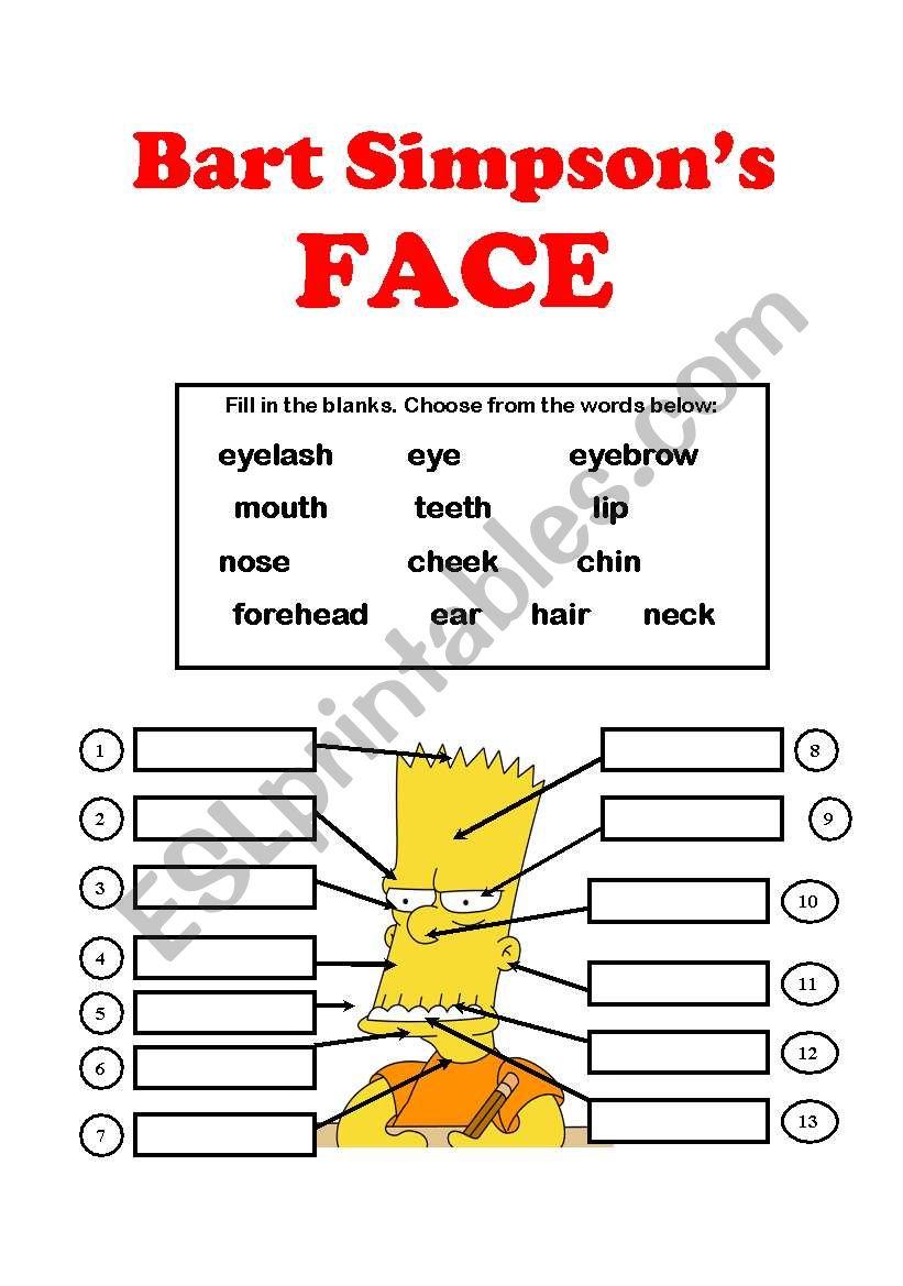 Bart Simpson´s FACE worksheet