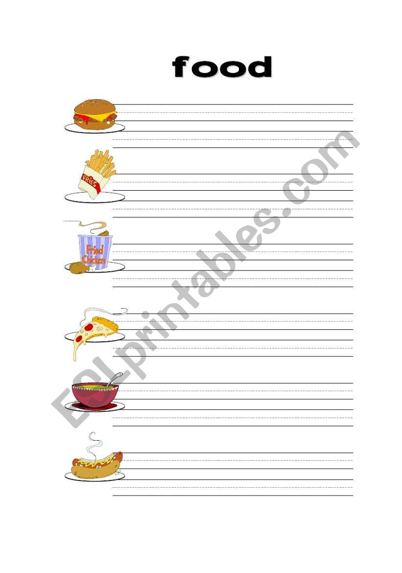 English Worksheets My Favorite Food