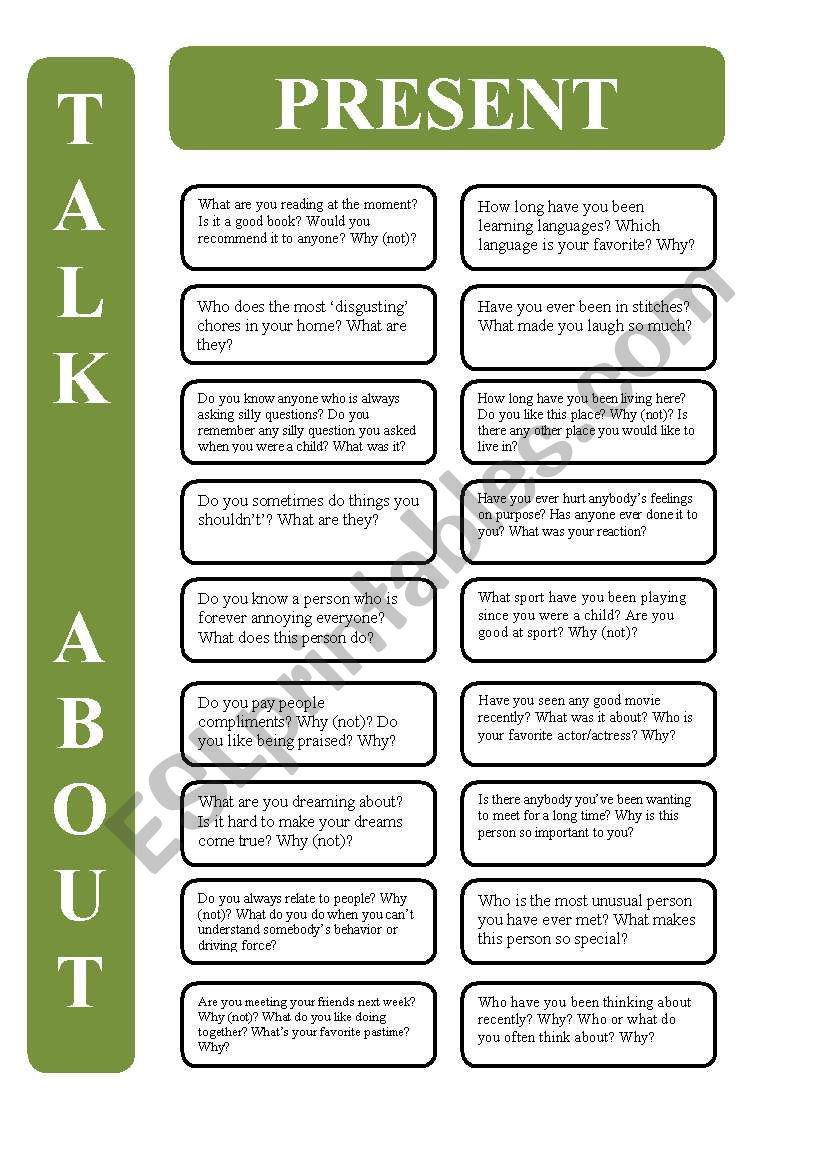 Present tenses - 18 conversation cards (editable)