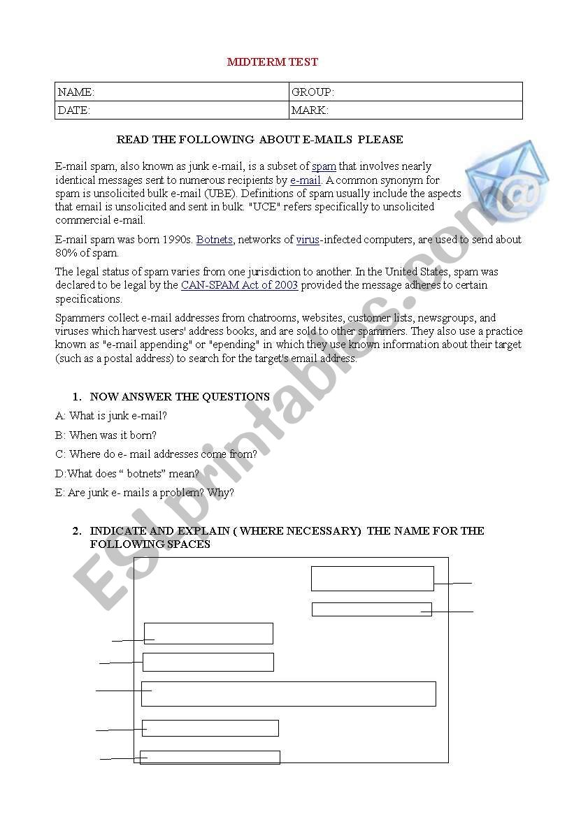 English Test Esp E Mails And Formal Letters Esl Worksheet By