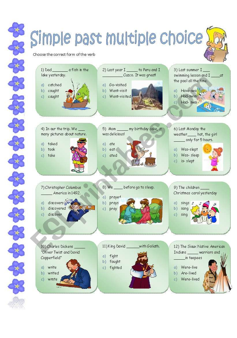 SIMPLE PAST MULTIPLE CHOICE worksheet