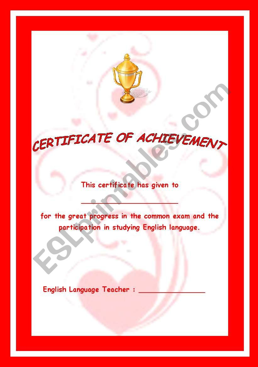 Certificate worksheet