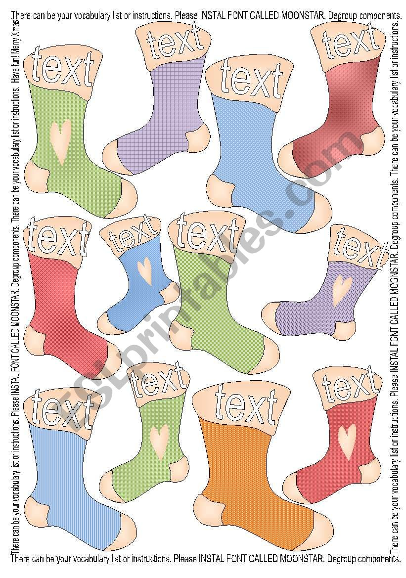 12 Stockings Template - Colourful + Outlined BW