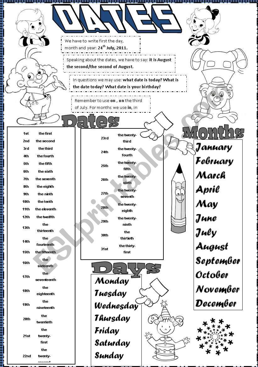dates worksheet