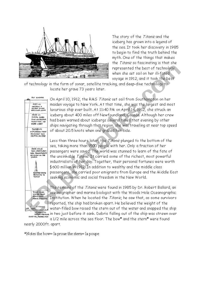 worksheet Titanic Worksheets english worksheets titanic worksheet