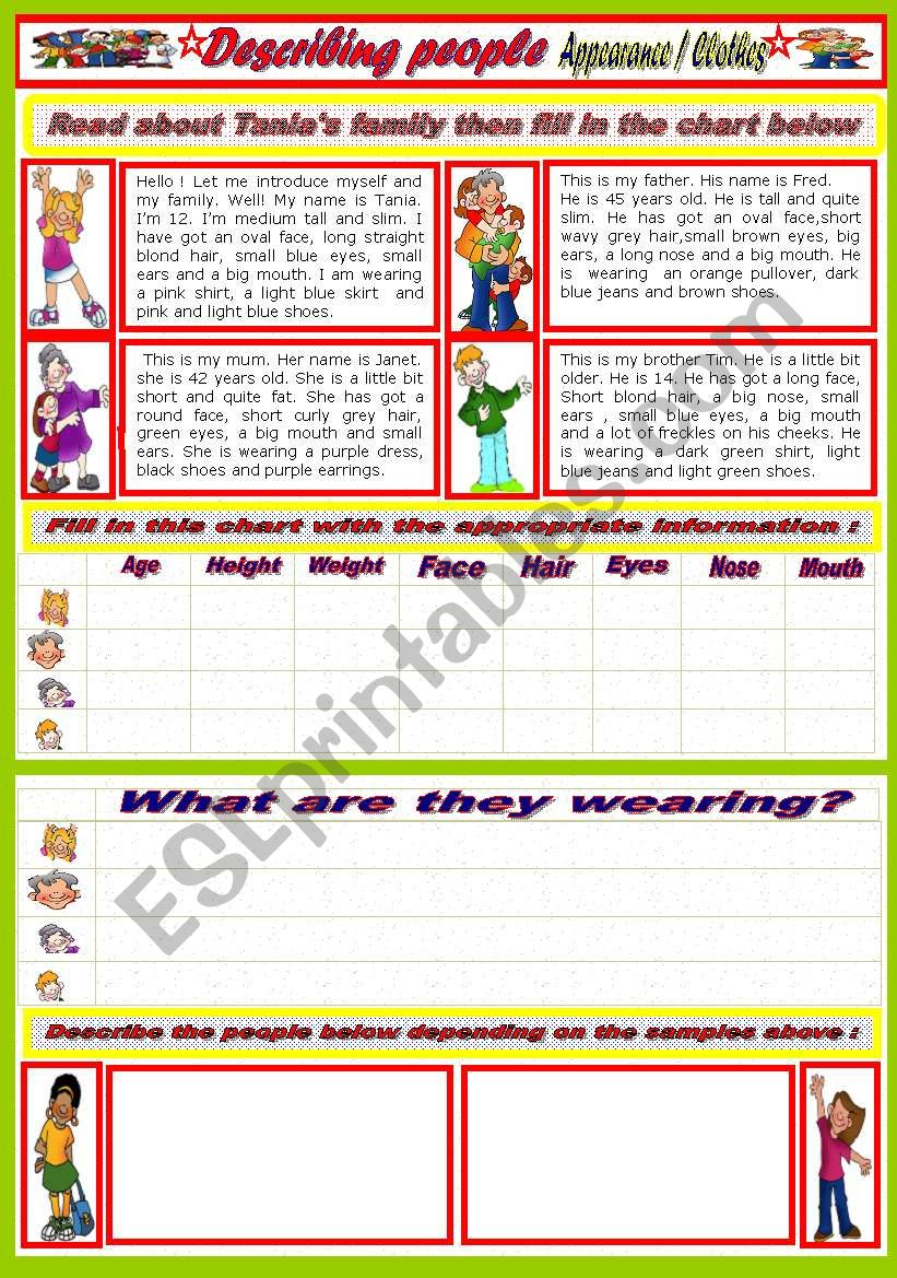 Describing people ( appearance /clothes)