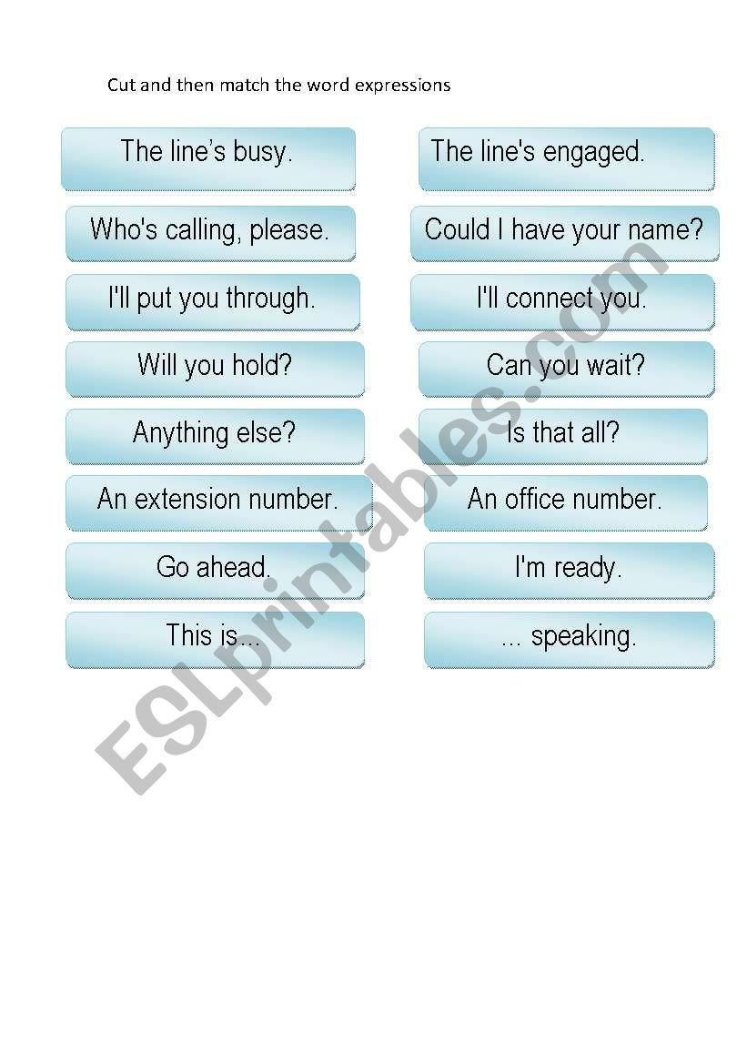 Telephone matching worksheet