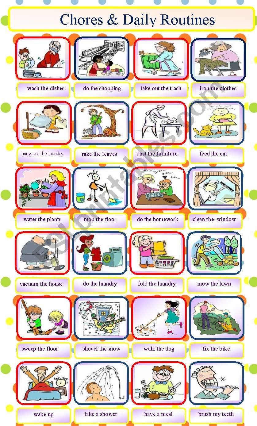 Chores and daily routines worksheet