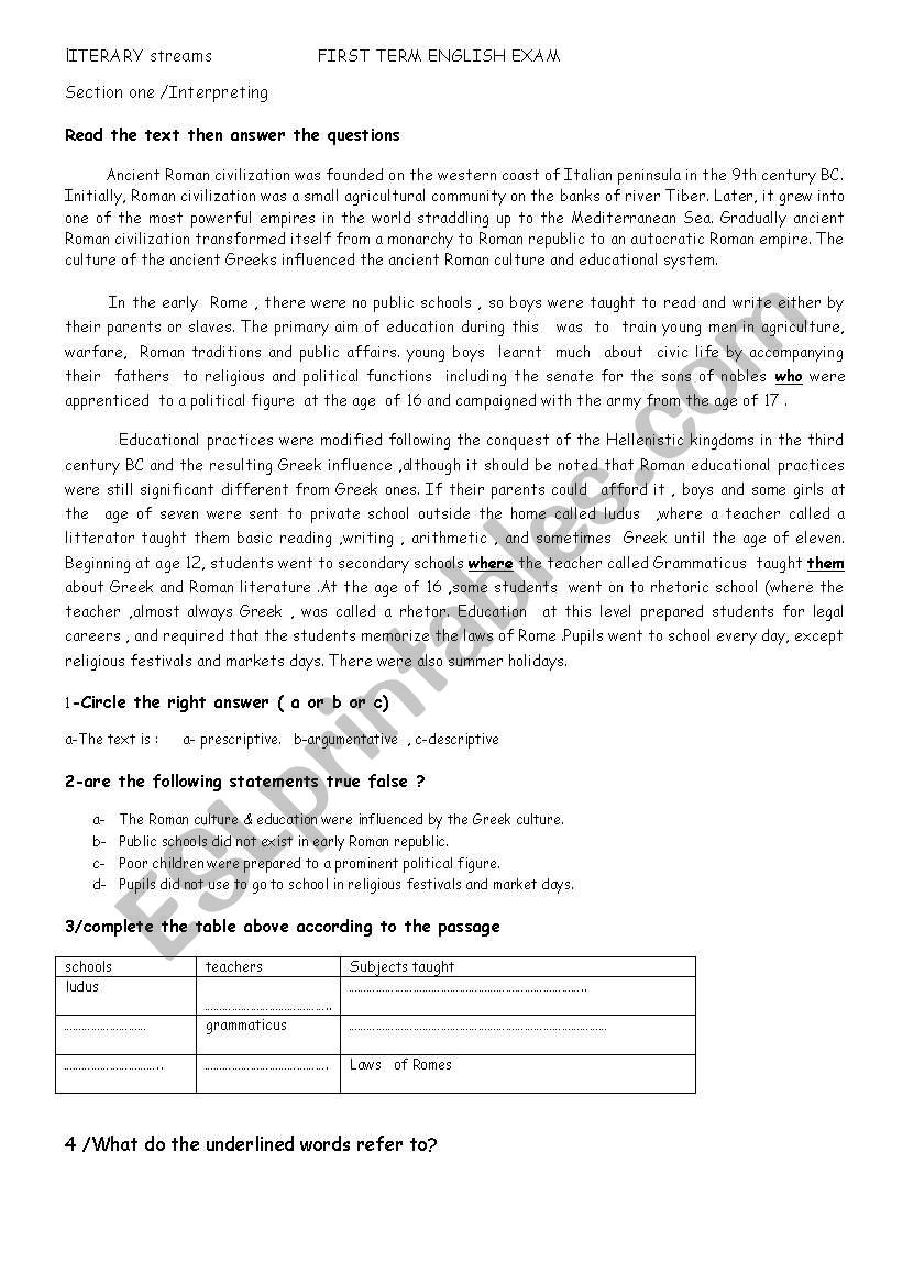 education in ancient Rome worksheet
