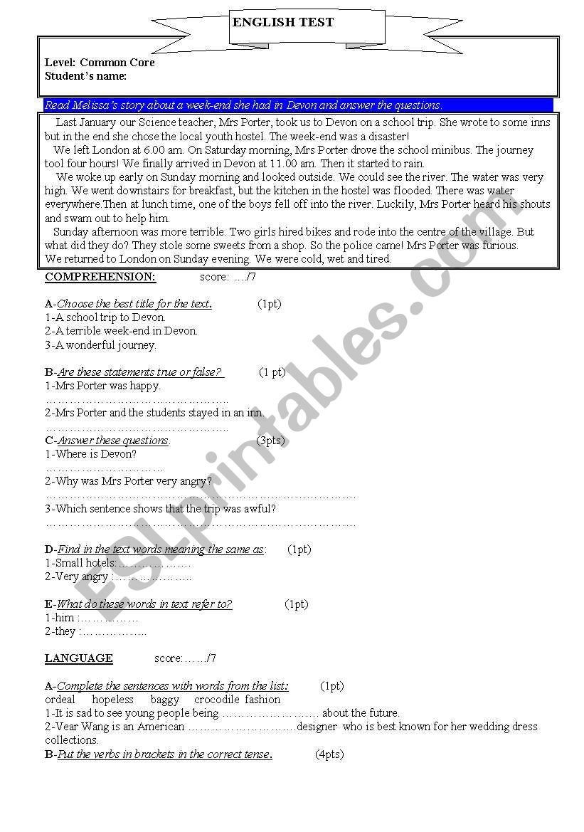 TEST for Common Core Classes - ESL worksheet by grimsim