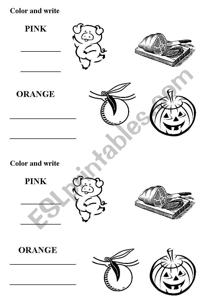 pink and orange colors worksheet