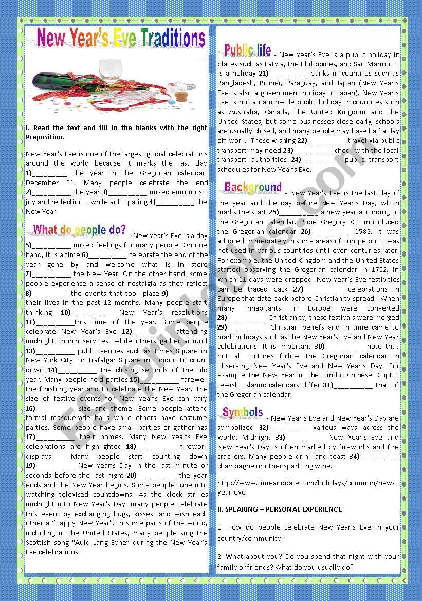 NEW YEAR´S EVE TRADITIONS worksheet