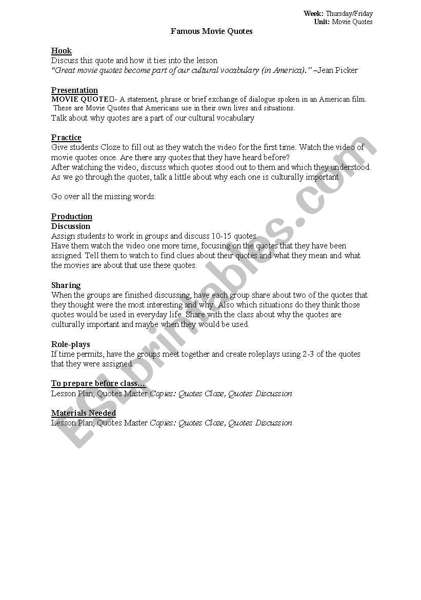 Afi 100 Most Famous Movie Quotes Lesson Plan Esl Worksheet By