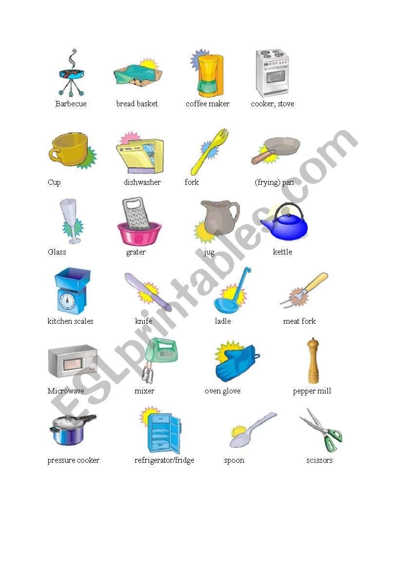 Kitchen Vocabulary Esl Worksheet By Liubacika G