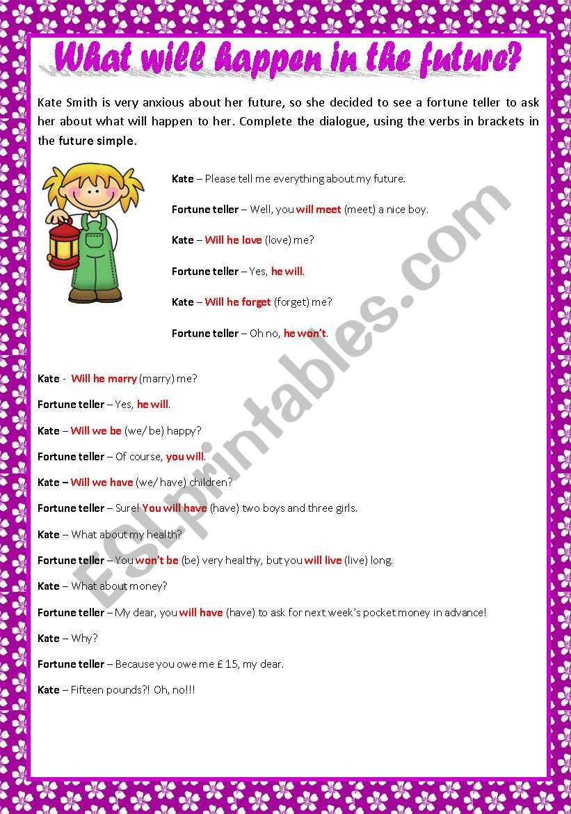 WHAT WILL HAPPEN IN THE FUTURE? + KEY - ESL worksheet by