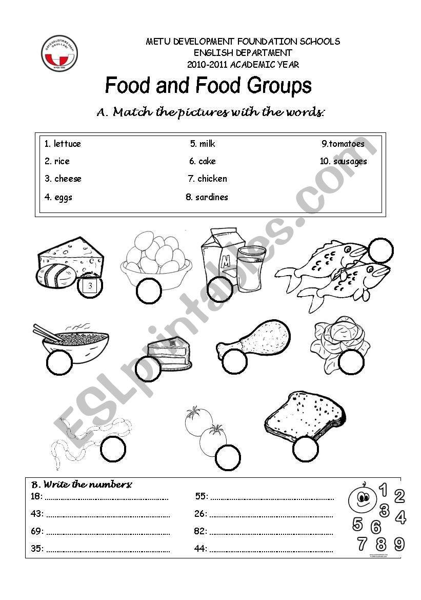 food groups - ESL worksheet by grkm