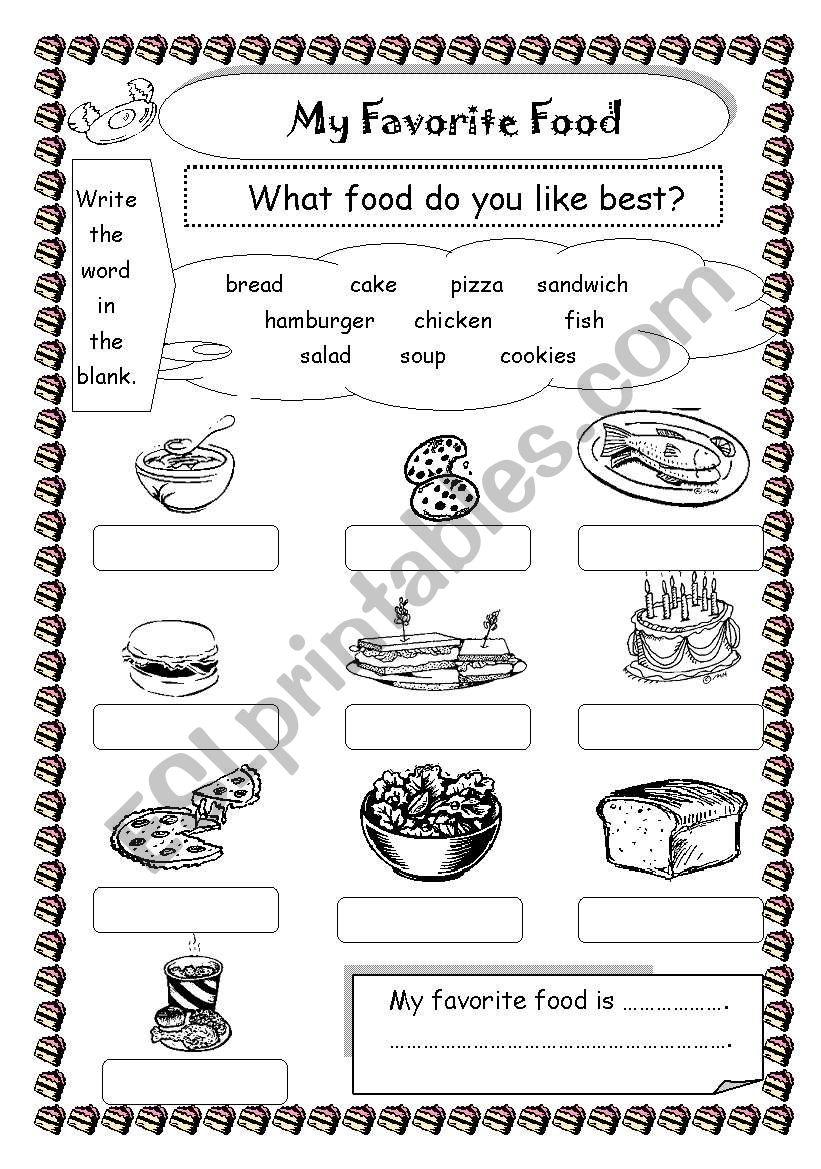 My Favorite Food Esl Worksheet By Saifonduan