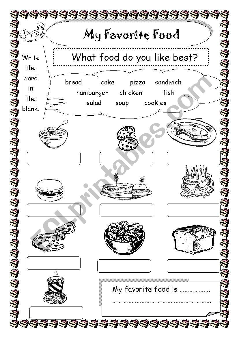 worksheet My Favorite Food Worksheet english worksheets my favorite food worksheet