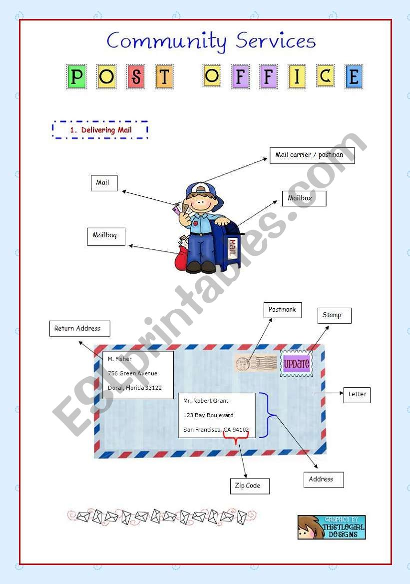 English Worksheets Community Services 1 Post Office