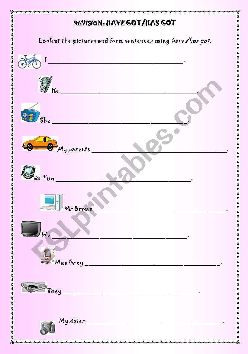 Have got or has got? worksheet