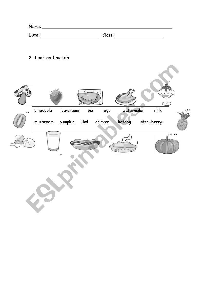 food worksheet worksheet