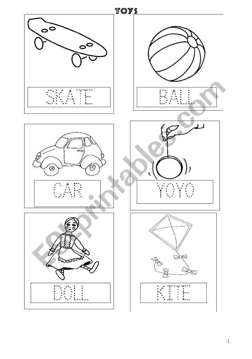 6 TOYS FLASHCARDS_SKATE ,BALL, CAR, YOYO, DOLL, KITE