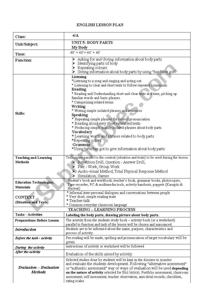 lesson plan body parts worksheet