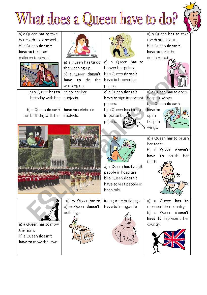what does a Queen have to do? worksheet
