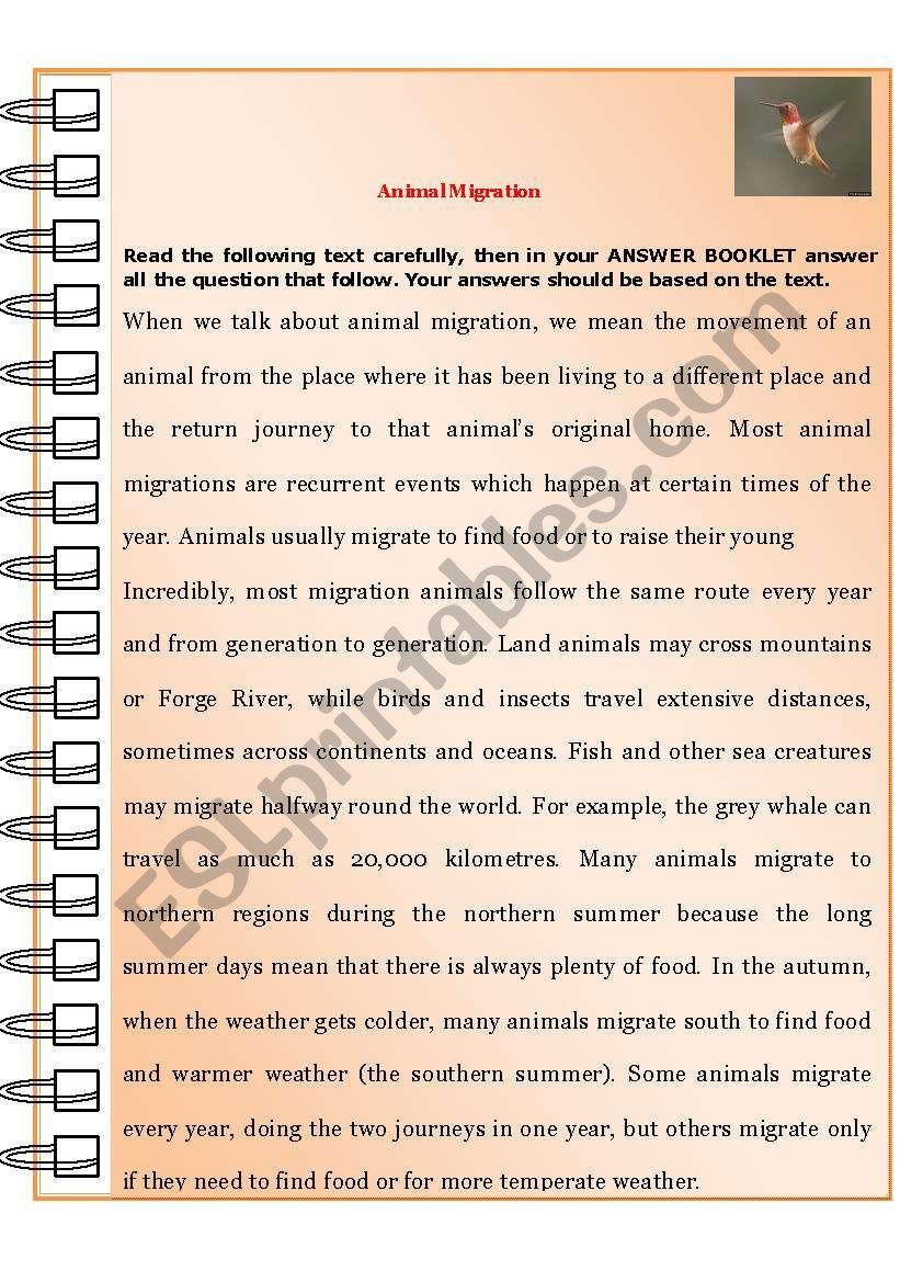 animal migration esl worksheet by youness. Black Bedroom Furniture Sets. Home Design Ideas