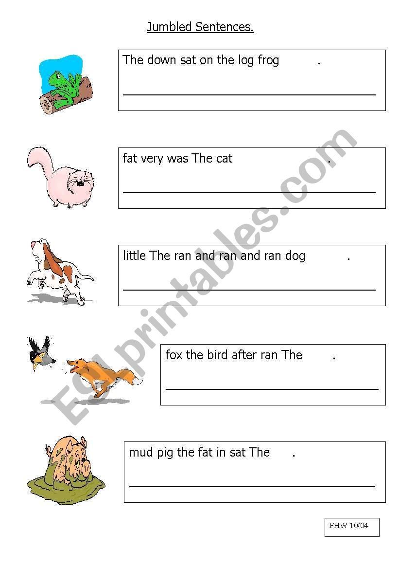 English Worksheets Jumbled Sentences