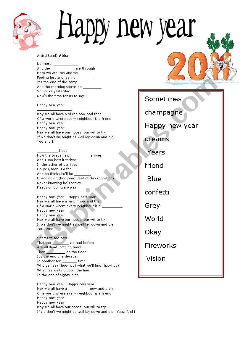 happy new year ABBA worksheet