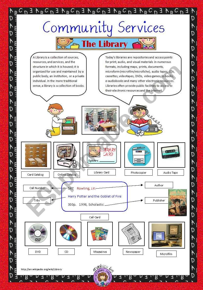 Community Services 2 The Library Esl Worksheet By Vanev