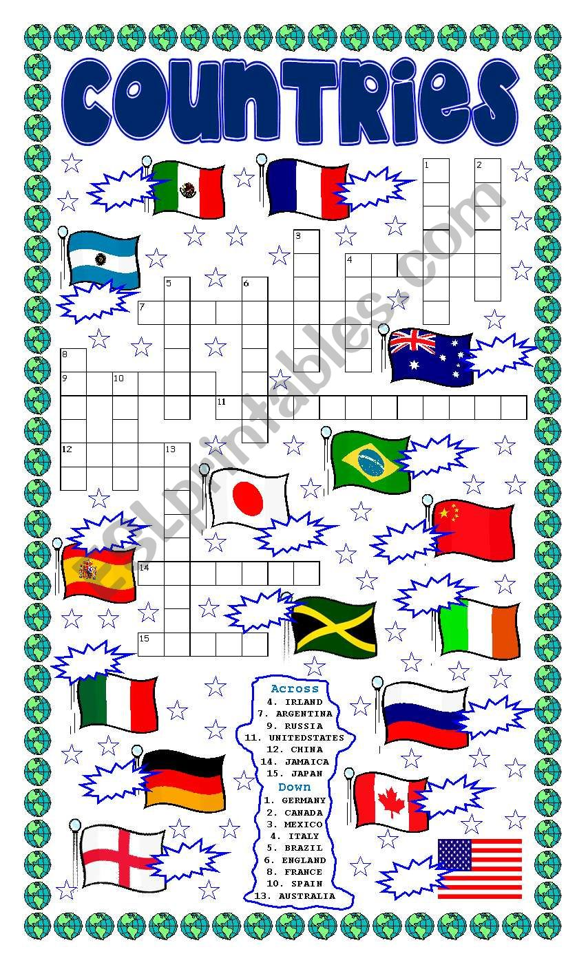 COUNTRIES PUZZLE AND NUMBER THE FLAGS
