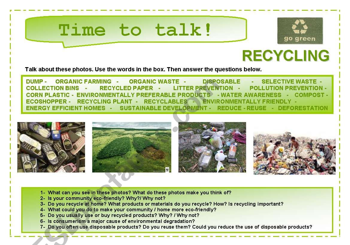Time to talk (11): Recycling worksheet