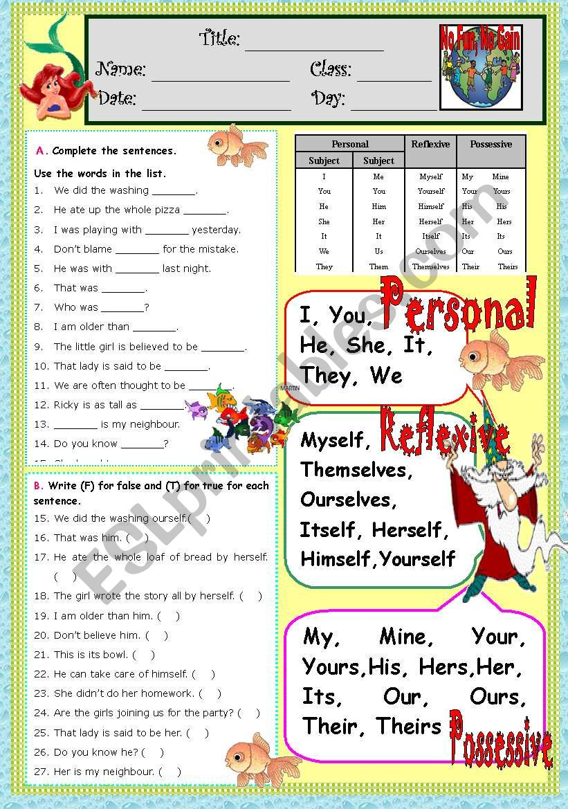PRONOUNS ^Personal, Reflexive, Possessive^ (*B&W included*) 2pages